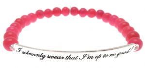 Kissika Sterling Silver Quote Bracelet ' I solemnly swear...'  In Hot Pink Jade